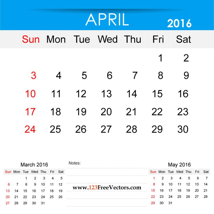 Free Download April 2016 Calendar Printable Template Vector Illustration. Can be used for business, corporate office, education, home etc.Free Editable Monthly Calendar April 2016 available in Adobe Illustrator Ai