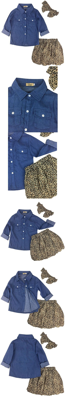 Jastore 3PCS Baby Girls Clothing Set Summer Toddler Kids Denim Tops Leopard Skirt Outfits