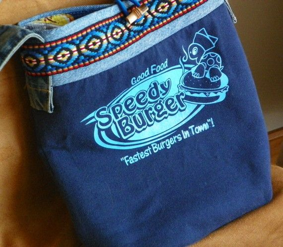 Speedy Burger Repurposed T-shirt Eco Friendly ToteBag Purse or Computer Sleeve