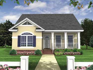 1100 sf GREAT WINDOWS & FLOOR PLAN Formal Bungalow (HWBDO14439) | Bungalow House Plan from BuilderHousePlans.com