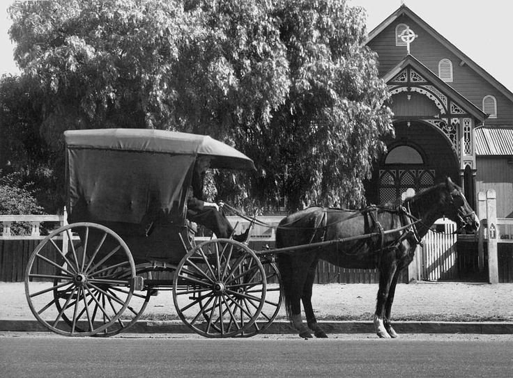Rody Heckscher, the owner/driver of the last of the hansom cabs in Warwick, ca. 1930 - Warwick was the first town on the Darling Downs established in 1849 on the banks of the Condamine River. The rich grazing land around the area supports horse and cattle studs, fine wool and grain. In 1871 the railway from Ipswich came through. Warwick is situated 158km south west of Brisbane on the Cunningham Highway.