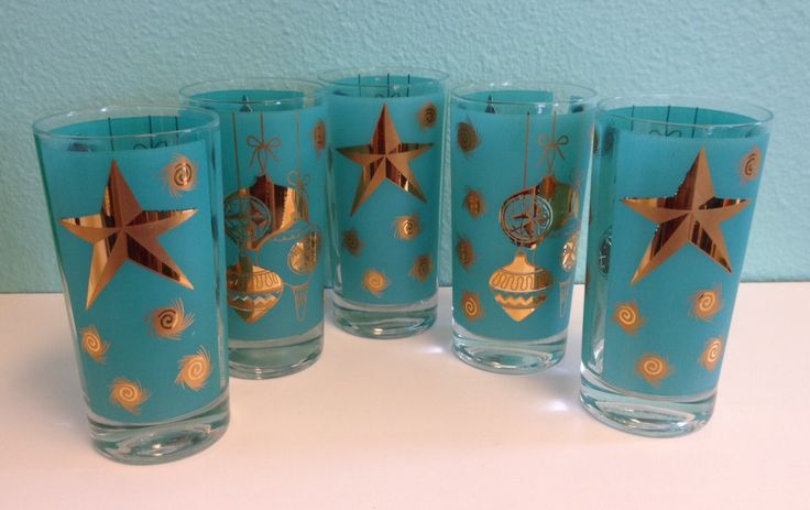 Vintage Novelty Cocktail Glasses - Aqua & Gold Christmas Collins Glass Set of Five - Mid-Century Barware Glassware Hi-Ball - 1950s 1960s by ShipyardMillies on Etsy