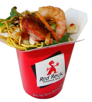 Red Rock Box: Thin egg noodles with prawn, squid, fish cake, chicken breast, lean beef, bbq pork &fresh vegetables all in our special mild chilli sauce.