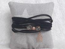 Wickelarmband Leder schwarz rosegold Charm Perle