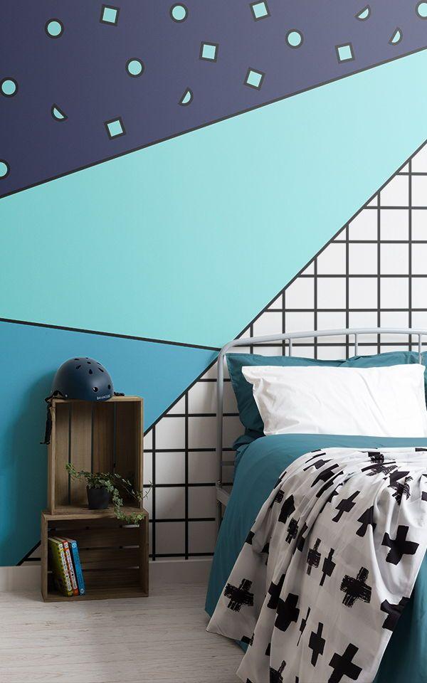 Mural De Pared Formas Modernas Azul Boys Bedroom Wallpaper Boys