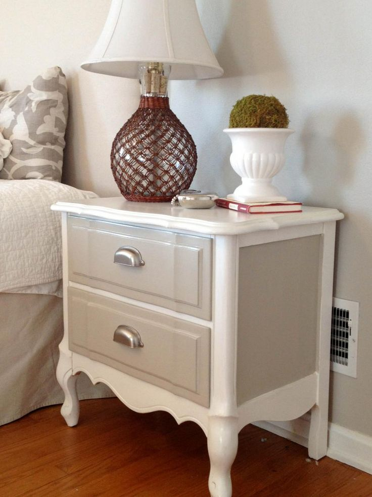 A fresh two-toned paint job and some brand-new hardware turned a traditional nightstand with no style into a sophisticated table in subdued hues. See the whole process here.