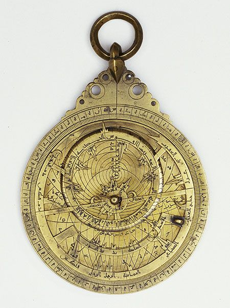 Muhammad ibn Abi'l Qasim ibn Bakran (12th century)  Astrolabe, 1102-1103 (496 A.H.)  Florence, Istituto e Museo di Storia della Scienza, inv. 1105    This small astrolabe, possibly of Persian origin, has four tympanums engraved on both faces for different latitudes. On the back, a moving arm fitted with sights allowed the user to measure a star's altitude.