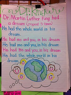 "Song for Martin Luther King Day.  Sing to the tune of ""He's Got the Whole World in His Hands."""