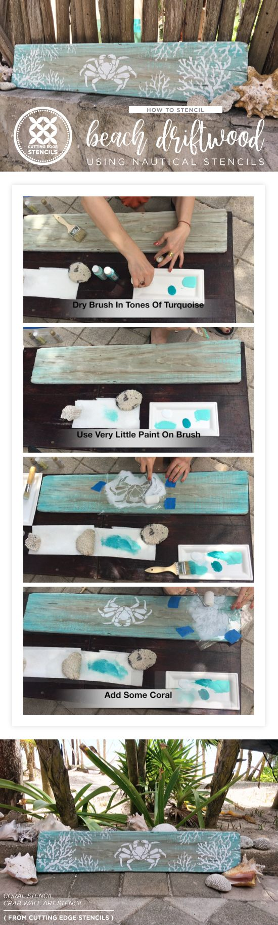 Cutting Edge Stencils shares how to craft beach wall art using driftwood and the Crab and Coral Nautical Stencils. http://www.cuttingedgestencils.com/beach-decor-stencils-designs-nautical.html