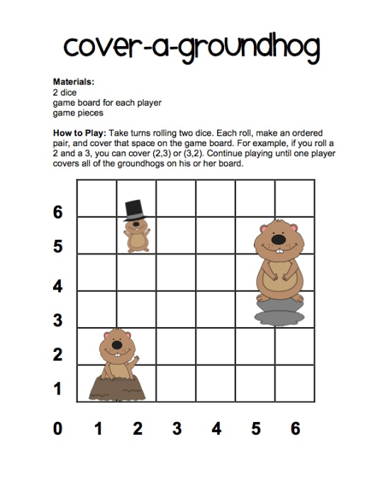 Teaching Ordered Pairs And A Fun Groundhog Day Math Game