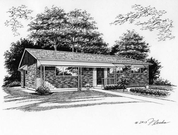Pen & Ink Illustration of brick ranch created by Custom House Portraits by Richelle Flecke
