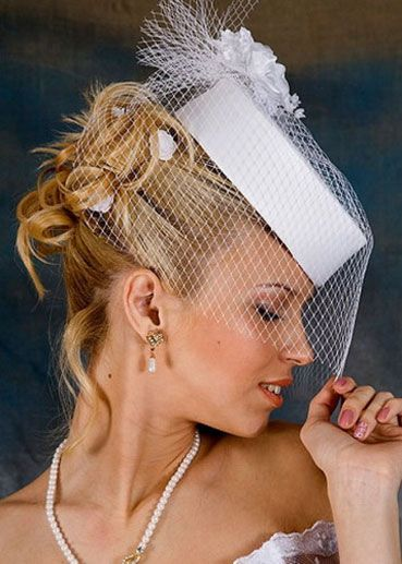 Wedding hairstyles with birdcage veils long hair