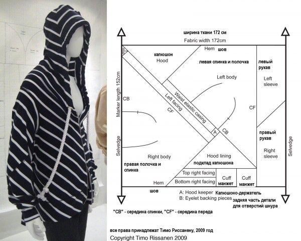 Выкройка кофты с капюшоном из квадратного куска ткани.
