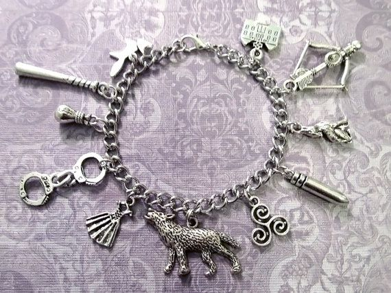 """$27.00 TEEN WOLF Charm Bracelet with ELEVEN Charms (7.25"""" chain) - Custom Orders Welcome"""