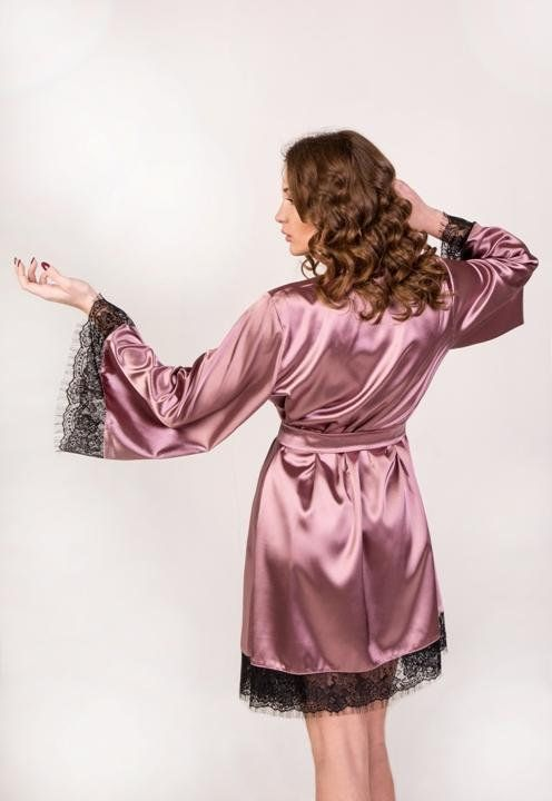 Kimono robe Bridal kimono Summer robe Bride robe Satin robe Satin dressing  gown Robe with black lace 641a04669