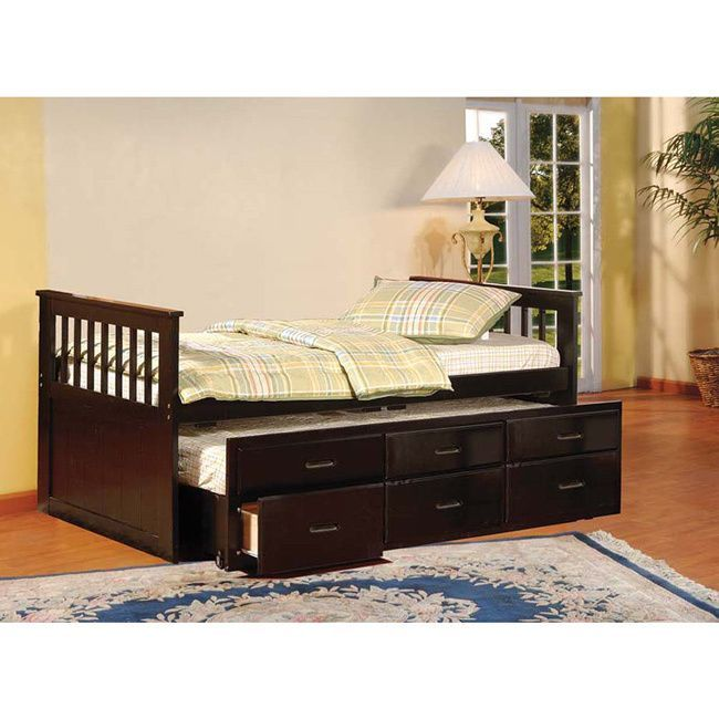 This twin trundle bed not only features an extra pull out space for a mattress, but it features storage drawers as well, so your child's room can be kept clean more easily. Available in two finishes, this trundle will complement your decor.