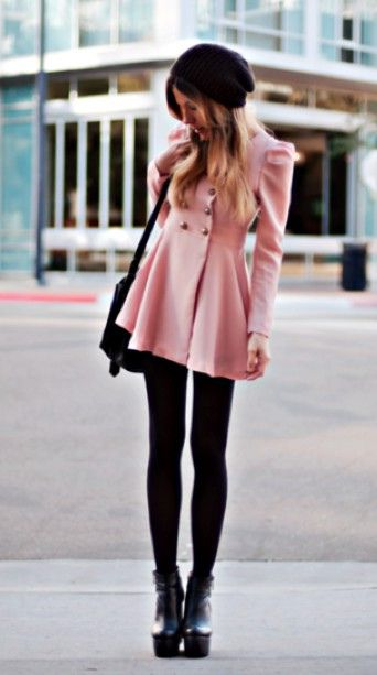 adorablePink Coats, Fashion, Style, Pale Pink, Jackets, Winter Outfit, Peacoats, Black Tights, Winter Coats