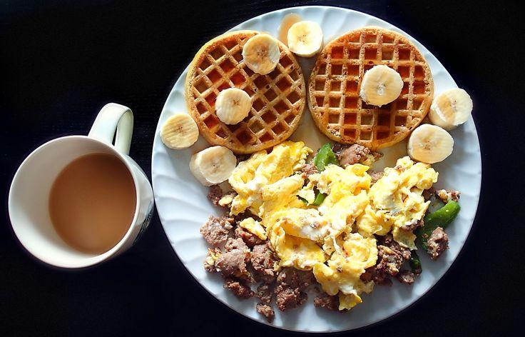 Simply Taralynn - whole grain organic waffles, a banana, and an egg scramble with turkey sausage + pepper