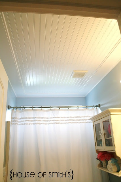 beadboard ceiling tutorial: Ideas, Popcorn Ceiling, Beadboard Ceiling, Ceiling Tutorial, Bathroom Ceilings, Ceiling Idea, House, Bead Board Ceiling, Laundry Room