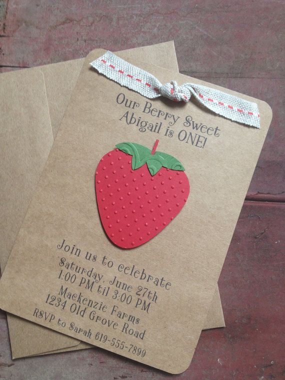 Strawberry Invitations - Custom Made Strawberry Birthday or Shower Invites, Set of 8 Invites