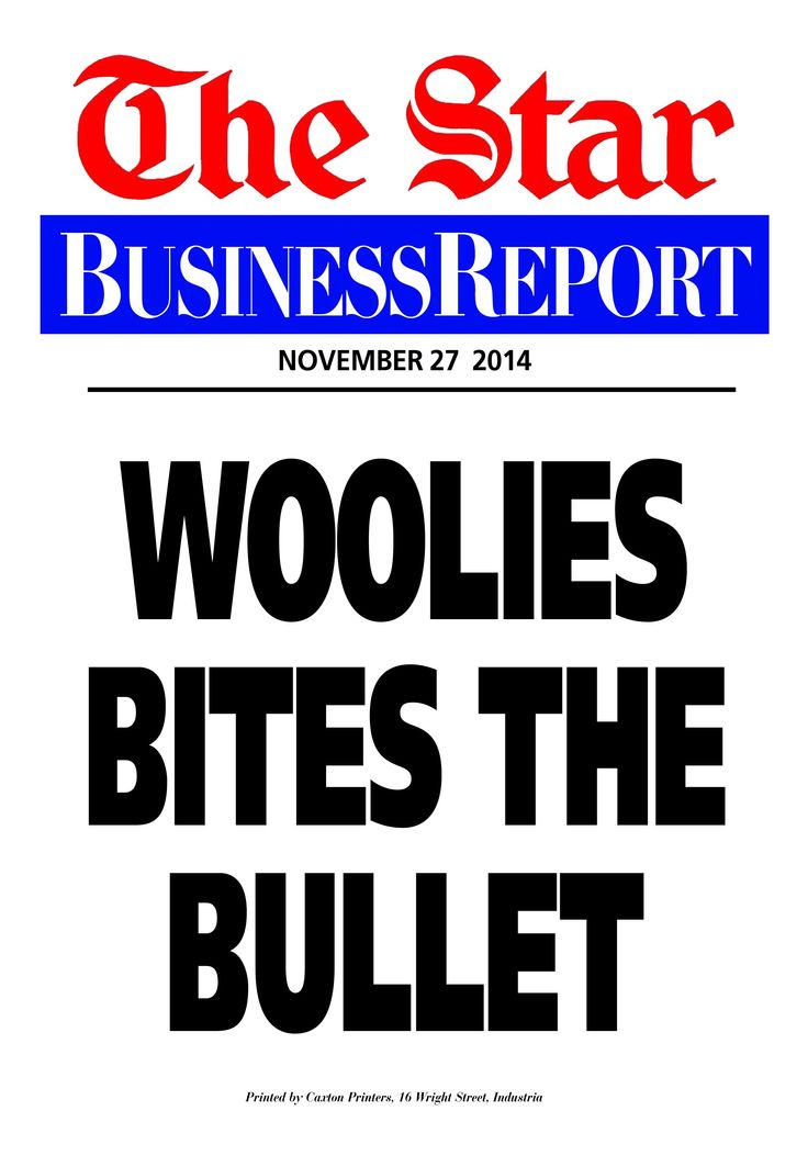 Today's Business Report newspaper street poster (November 27, 2014) deals with Woolworths being defiant on Israeli its suppliers.  To read this and other stories click here: http://www.iol.co.za/business/companies/woolies-defiant-on-israeli-suppliers-1.1786865#.VHd0pSIsY2c