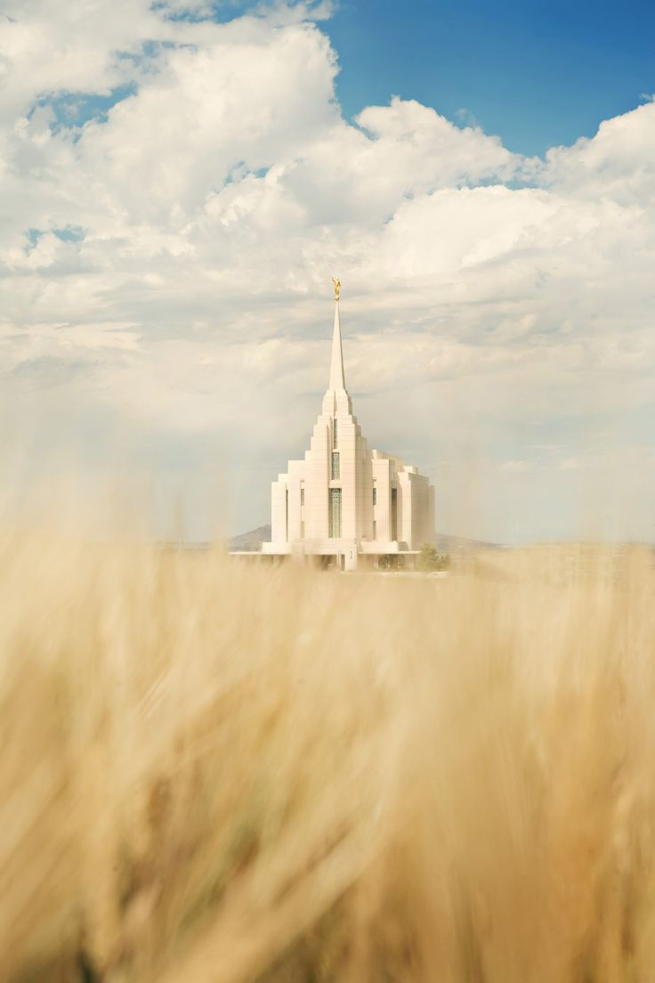 The entire Rexburg Idaho Temple, including a wheat field.