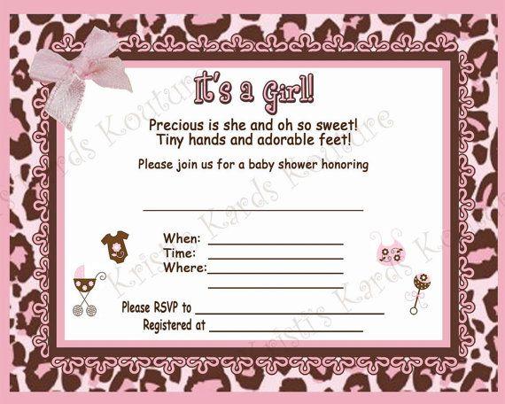 cheetah print baby girl shower invitation jpeg file blank on etsy 500