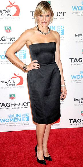 CAMERON DIAZ  The star supports superstorm Sandy victims in style, wearing a Lanvin dress, Gianvito Rossi pumps, Slane bangles, Carla Amorim ring and a Tag Heuer watch to a relief effort fundraiser in N.Y.C.