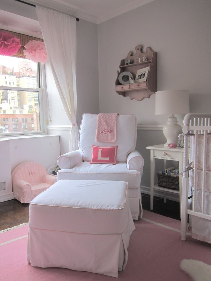 Pink And Gray Elephant Nursery Baby Girls Ottomans And