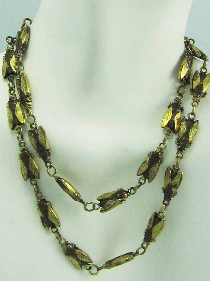 VICTORIAN Egyptian Revival Antique Gold Tone CICADA long Link Necklace ~RARE!!!