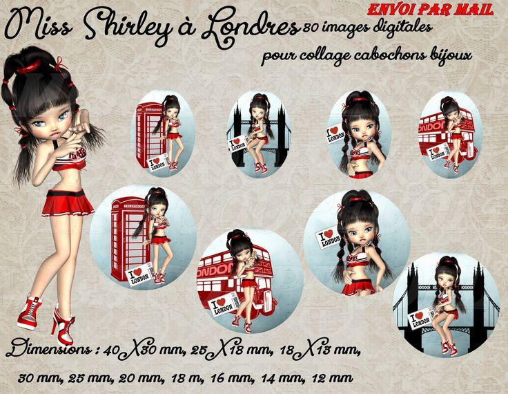 """80 images pour collage digital cabochons bijoux A IMPRIMER""""miss Shirley à Londres"""" ENVOI PAR MAIL, bleu, rouge, fille : Cabochon par miss-coopecoll"""