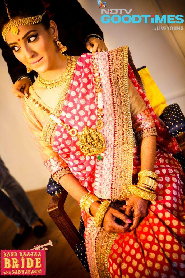 Beautiful Bride in Gold & Red, via NDTV GoodTimes' Band Baajaa Bride