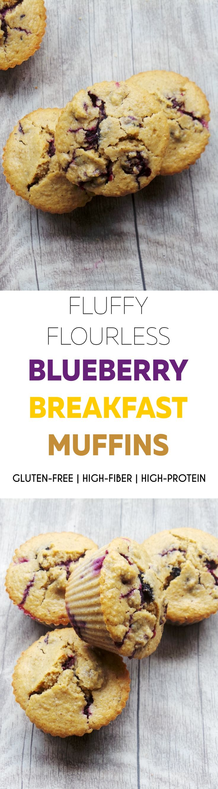 Flourless and refined sugar-free blueberry breakfast muffins, use gluten-free oats for gf version