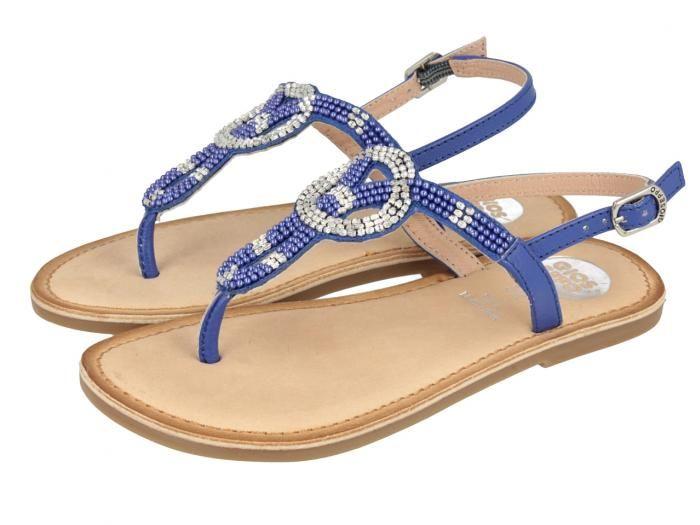 Gopi / Sandalias azules de niña con detalles brillantes en la tira y sujección al tobillo