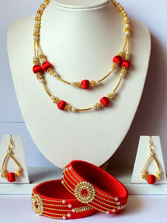 Silk Thread Necklace with Earrings & Bangles / Indian Thread