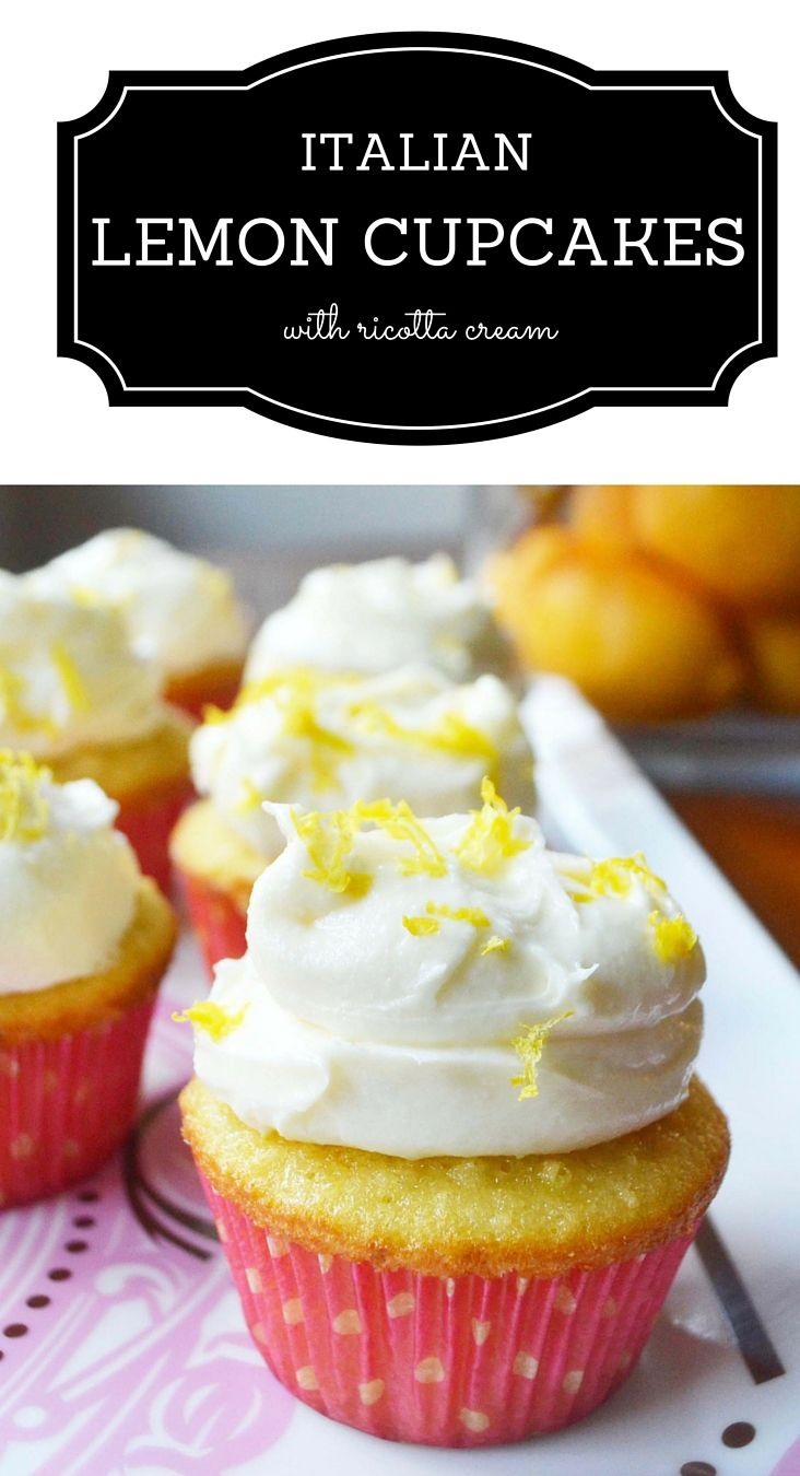 Sweet Italian Lemon Cupcakes made with Olive Oil and topped with sweet Ricotta Cream Frosting. The cake is bursting with fresh squeezed lemon juice flavor. The frosting is the perfect balance of creamy and sweet. It's the perfect lemon cupcake!