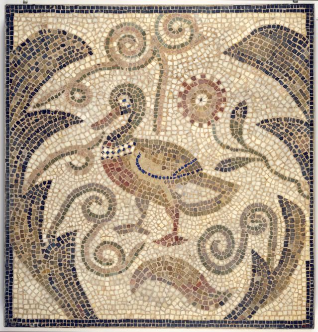 Little Known Roman Jewish Mosaic Art, Hamman Lif Synagogue in Tunisia: Duck Facing Left in Vines