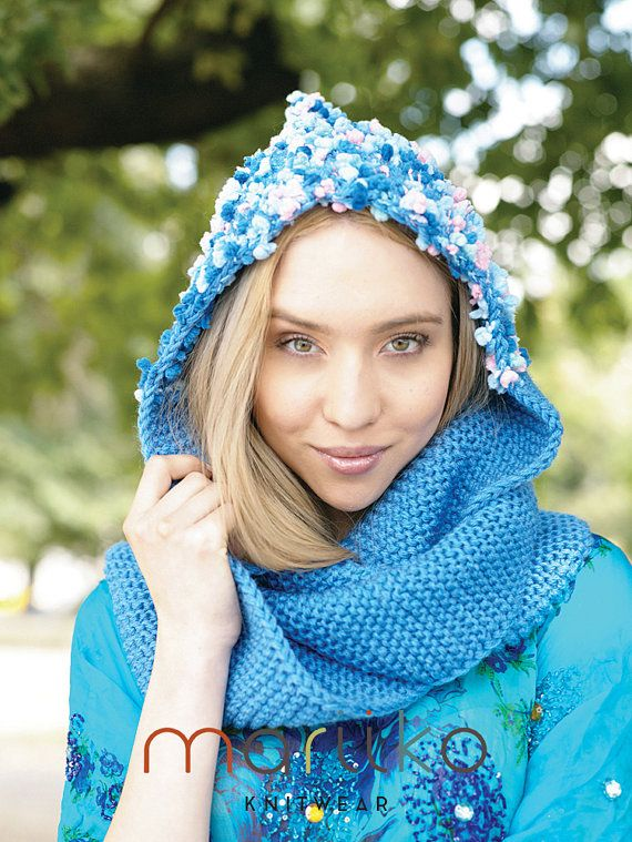 Sky Blue Hand Knit Wool Scoodie Chunky Scoodie Light by Mariiko