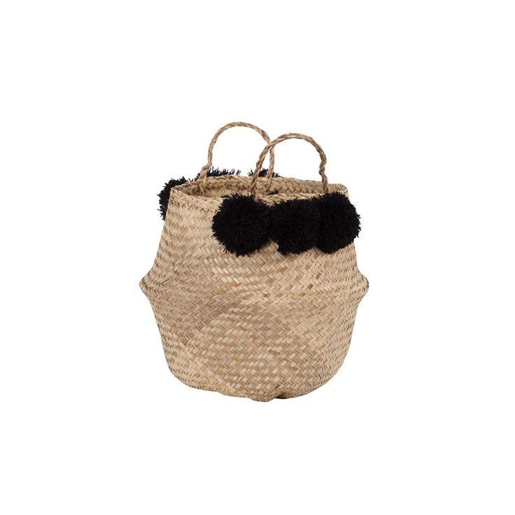 Seagrass Belly Basket w/ Pom