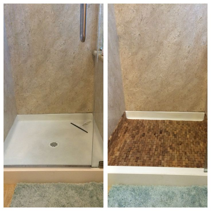 How to turn an ugly shower base into a spa retreat. I bought two foldable teak shower mats from Bed Bath and Beyond.