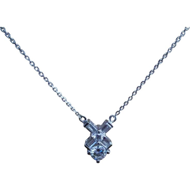 Fresh in from Europe, a Stunning Top of the Line 14 Karat White Gold and Diamond Estate Necklace. VS1-2 G-H Color.