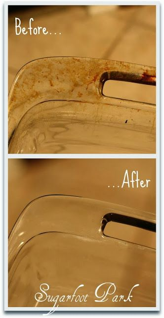 #Pyrex - How To #Clean Grease off Glass #Cookware ... get those baked grease stains off your Pyrex. Fantastic and SO easy!