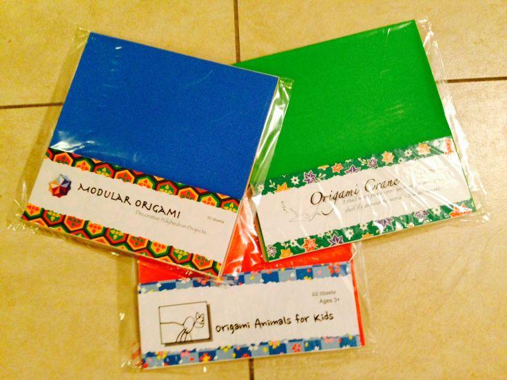 Origami kits by Sachio Shigeta.  Crane kit (traditional): 22 sheets; crane, balloon and jumping frog folding instructions  Kids kit: 22 sheets; 8 simple animal folds  Modular kit: 30 sheets; instructions for cube and octahedron using sonobe modules, leading up to the 30 piece icosahedron.