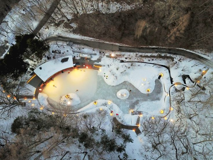 Shingle-clad clubhouse and visitor centre faces ice rink in a Japanese forest