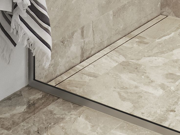 Unidrain HighLine Custom floor drain and Unidrain GlassLine shower screen #unidrain #glassline #highline #design #nordic