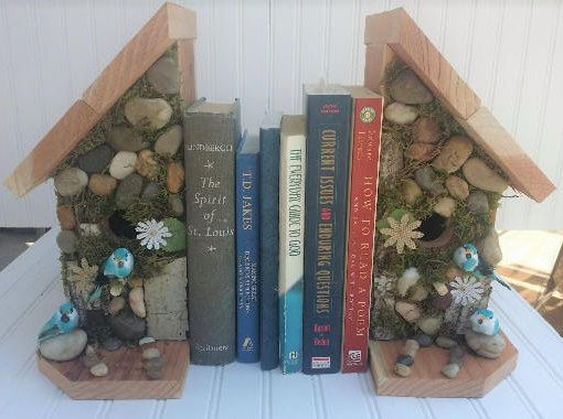 Rustic Bookends Stone & Redwood Birdhouses Mossy Woodland