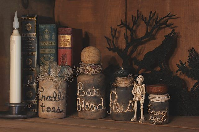 Recycle old pill bottles by turning them into spooky witch's potion jars. These frightening bottles make the perfect addition to any Halloween display.