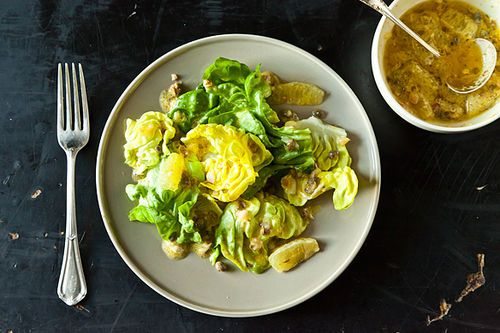 Serve this lemon caper dressing over salad, but with something rich and fatty to dip in, too. The flavors are insane.