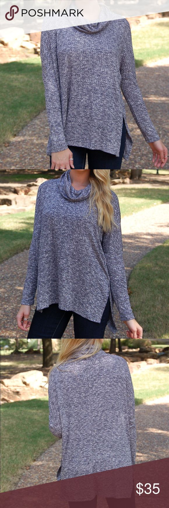 Super Comfy Navy Cowl Neck Top Lightweight Sweater This amazingly comfortable and lightweight slouchy top pairs perfectly with leggings and boots! Runs true to size for an oversized fit and model is wearing size small! Also available in beige in my closet! Paperback Boutique Tops