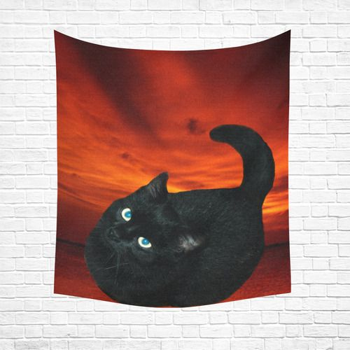 """Black Cat Cotton Linen Wall Tapestry 51""""x 60"""""""